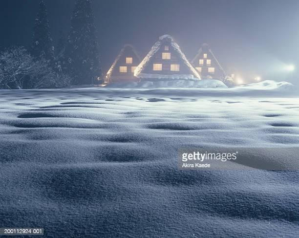 Japan, Gifu Prefecture, Shirakawa, snow-covered homes, winter
