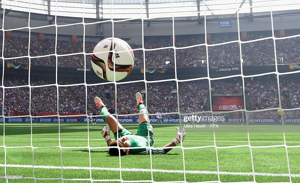 Japan goalkeeper Ayumi Kaihori fails to stop a long range shot from Carli Lloyd of USA during FIFA Women's World Cup 2015 Final between USA and Japan at BC Place Stadium on July 5, 2015 in Vancouver, Canada.