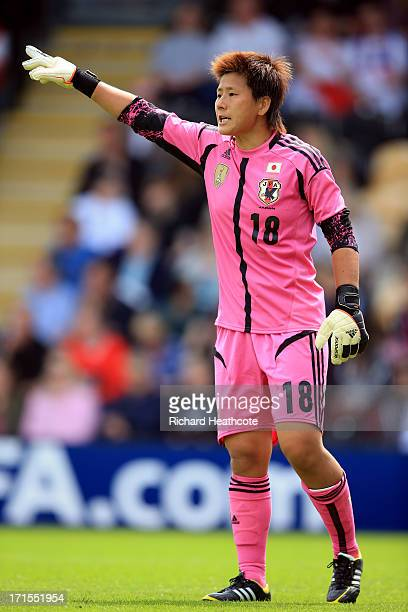 Japan goalkeeper Ayumi Kaihori in action during the Women's International match between England and Japan at the Pirelli Stadium on June 26 2013 in...