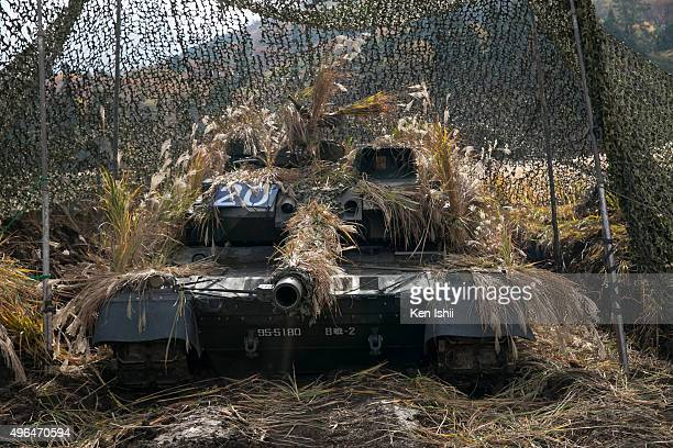 Japan Ground SelfDefense Force's type10 tank is seen during field training exercise 'Chinzei 26' on November 7 2015 in Yufu Japan Approximately 17000...