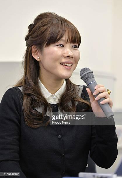 Japan - Haruko Obokata, a scientist at Riken's Center for Developmental Biology in Kobe, speaks at a press conference in Kobe, Hyogo Prefecture, on...