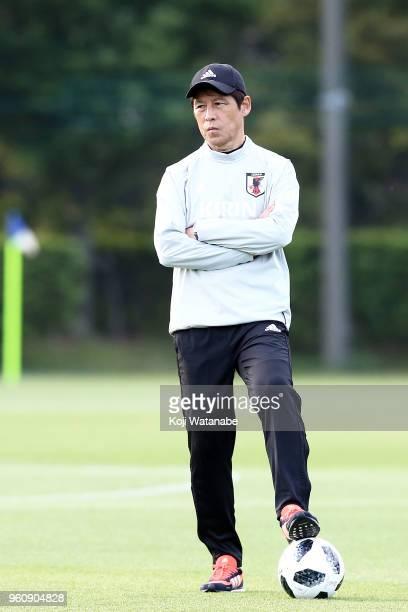 Japan head coach Akira Nishino in action during a Japan training session at Akitsu Football Field on May 21 2018 in Narashino Chiba Japan