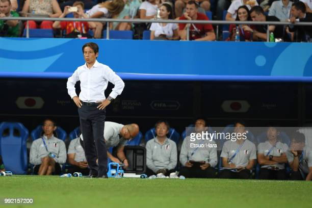 Japan head coach Akira Nishino looks on during the 2018 FIFA World Cup Russia Round of 16 match between Belgium and Japan at Rostov Arena on July 2...