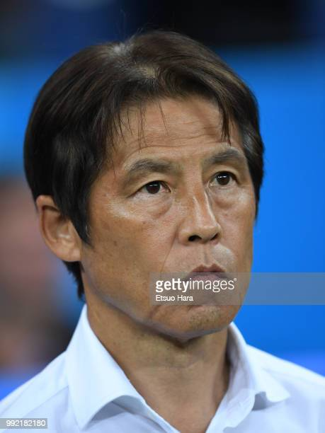 Japan head coach Akira Nishino looks on prior to the 2018 FIFA World Cup Russia Round of 16 match between Belgium and Japan at Rostov Arena on July 2...