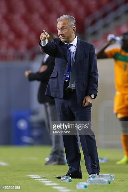 Japan head coach Alberto Zaccheroni calls instructions during the International Friendly Match between Japan and Zambia at Raymond James Stadium on...