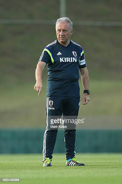 Japan head coach Alberto Zaccheroni gives instructions during a Japan training session at the Japan national team base camp at the Spa Sport Resort...