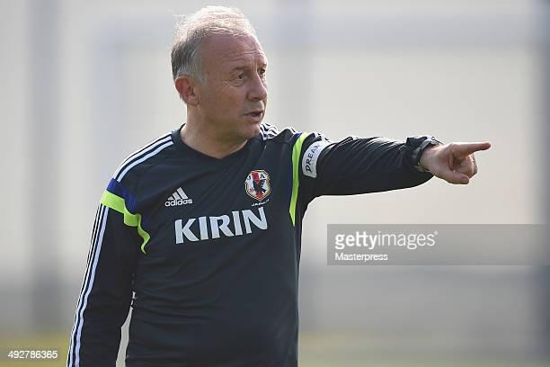 Japan head coach Alberto Zaccheroni instructs during the training session on May 21, 2014 in Ibusuki, Kagoshima, Japan.
