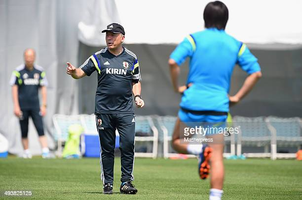 Japan head coach Alberto Zaccheroni instructs to his players during the training session on May 23 2014 in Ibusuki Kagoshima Japan
