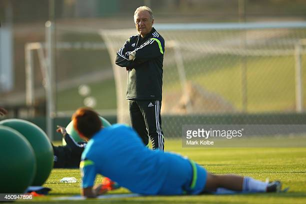Japan head coach Alberto Zaccheroni looks on during a Japan training session at the Japan national team base camp at the Spa Sport Resort on June 20...