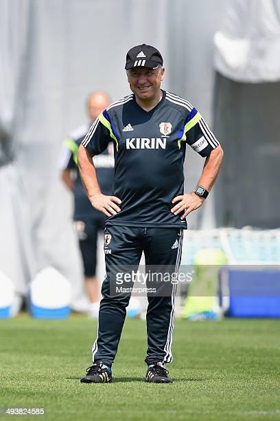 Japan head coach Alberto Zaccheroni looks on during the training session on May 23, 2014 in Ibusuki, Kagoshima, Japan.