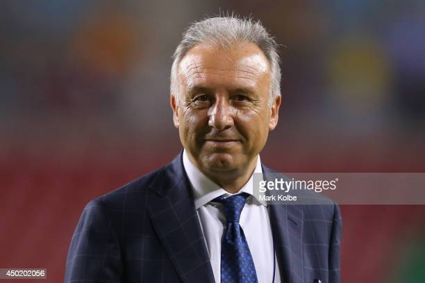 Japan head coach Alberto Zaccheroni smiles as he leaves the pitch after the International Friendly Match between Japan and Zambia at Raymond James...
