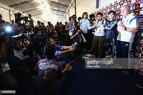 Japan head coach Alberto Zaccheroni speaks to the media after closing a Japan training session at the Japan national team base camp at the Spa Sport...