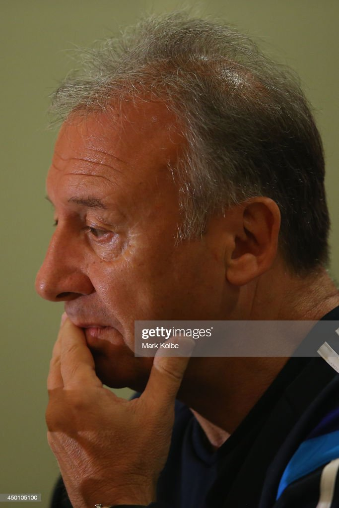 Japan head coach Alberto Zaccheroni speaks to the media during a press conference at the Hyatt Regency Clearwater Beach Resort and Spa on June 5, 2014 in Clearwater, Florida.