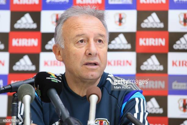 Japan head coach Alberto Zaccheroni speaks to the media during a press conference at the Japan national team base camp at the Spa Sport Resort on...