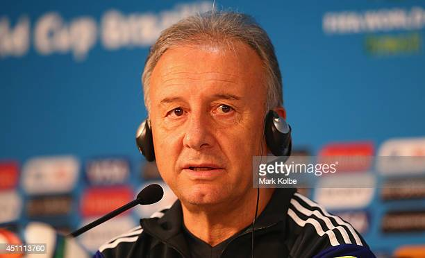 Japan head coach Alberto Zaccheroni speaks to the media during a Japan press conference at Arena Pantanal on June 23, 2014 in Cuiaba, Mato Grosso.