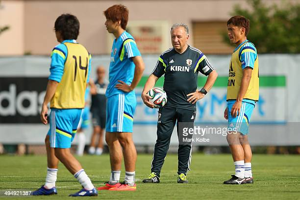 Japan head coach Alberto Zaccheroni watches on a Japan training session at North Greenwood Recreation Aquatic Complex on May 31 2014 in Clearwater...