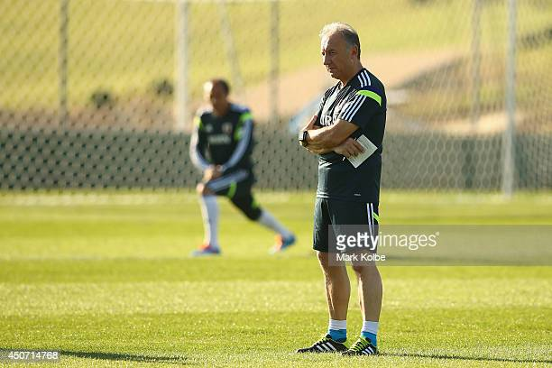 Japan head coach Alberto Zaccheroni watches on during a Japan training session at the Japan national team base camp at the Spa Sport Resort on June...