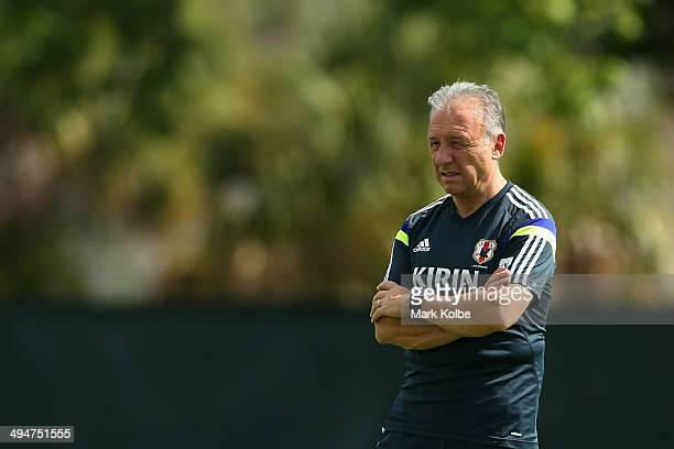Japan head coach Alberto Zaccheroni watches on during a Japan training session at North Greenwood Recreation & Aquatic Complex on May 30, 2014 in...
