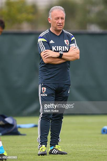 Japan head coach Alberto Zaccheroni watches on during a Japan training session at North Greenwood Recreation Aquatic Complex on June 3 2014 in...