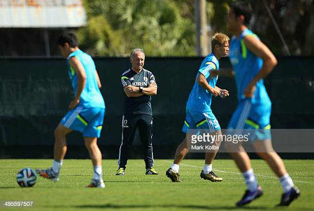 Japan head coach Alberto Zaccheroni watches on during a Japan training session at North Greenwood Recreation Aquatic Complex on June 4 2014 in...
