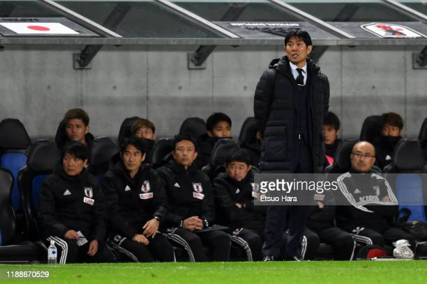 Japan head coach Hajime Moriyasu looks on during the international friendly match between Japan and Venezuela at the Panasonic Stadium Suita on...
