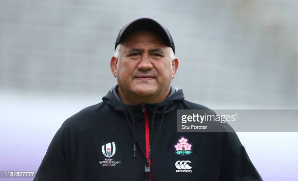 Japan head coach Jamie Joseph looks on during a 2019 Rugby World Cup Japan team training session at Chichibunomiya Rugby Stadium on October 17, 2019...