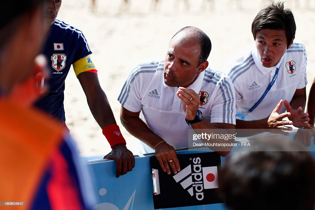 Japan Head Coach, Marcelo Mendes speaks to his players during the Group A FIFA Beach Soccer World Cup match between Japan and Senegal held at Espinho Stadium on July 13, 2015 in Espinho, Portugal.