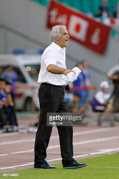 Japan head coach Vahid Halilhodzic gestures during a match against DRR Korea during EAFF East Asian Cup 2015 final round on August 2 2015 in Wuhan...