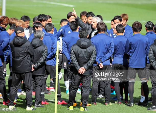 Japan head coach Vahid Halilhodzic gives instruction during a training session on March 26 2018 in Liege Belgium