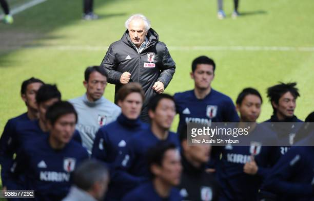 Japan head coach Vahid Halilhodzic is seen during a training session on March 26 2018 in Liege Belgium
