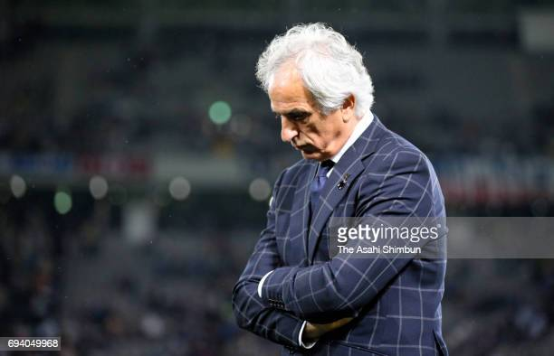 Japan head coach Vahid Halilhodzic raects after the 11 draw in the international friendly match between Japan and Syria at Tokyo Stadium on June 7...