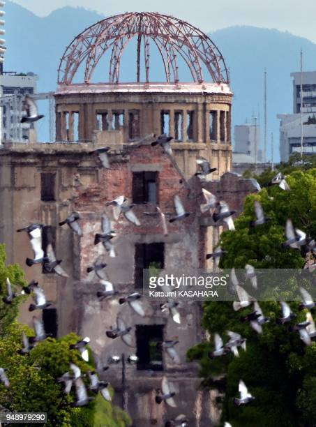 Doves fly over the Atomic Bomb Dome during the annual ceremony of the Hiroshima Peace Memorial Ceremony 2011 in Hiroshima Saturday Aug6