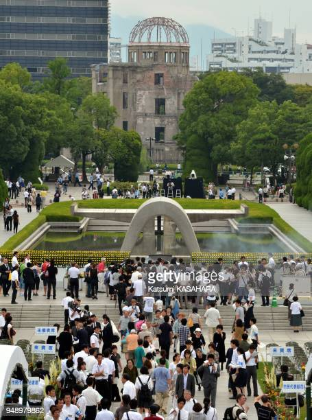 People make a long line to pray at the cenotaph for the atomic bomb victims during the annual ceremony of the Hiroshima Peace Memorial Ceremony 2011...