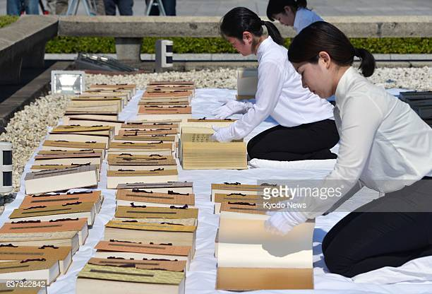 HIROSHIMA Japan Hiroshima city officials expose more than 100 volumes of the registry of persons who died from the 1945 atomic bombing in Hiroshima...