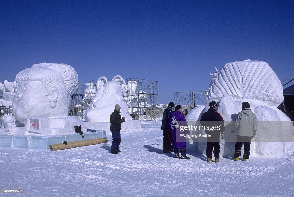 Japan, Hokkaido Island, Abashiri, People Building Ice... : News Photo