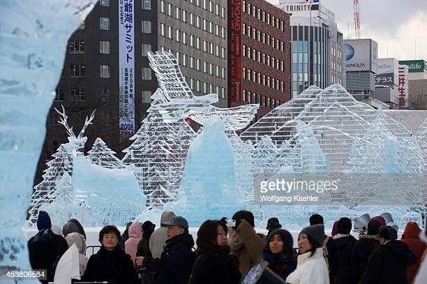 Japan Hokkaido Island Sapporo Sapporo Snow Festival People Viewing Ice Sculptures