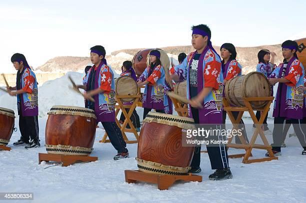 Japan Hokkaido Island Shiretoko Peninsula Utoro High School Students Practicing Japanese Taiko Drumming