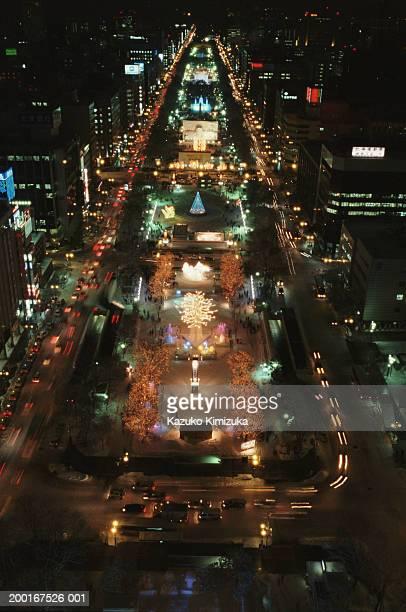 japan, hokkaido, sapporo, odori park, snow festival, night - kazuko kimizuka stock pictures, royalty-free photos & images