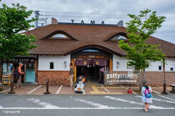japan, honshu island, kansai region, wakayama prefecture, kishi train station with tama the station master - kanto region - fotografias e filmes do acervo
