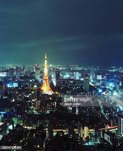 japan, honshu island, kanto region, tokyo prefecture, cityscape, night - kanto region - fotografias e filmes do acervo