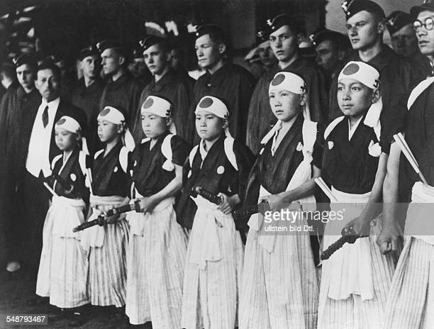 Japan Honshu Tokyo A delegation of the Hitler Youth in Japan on the occasion of the 2600th anniversary of the Japanese ruling dynasty in front...