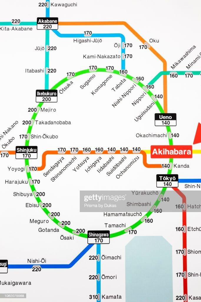 Japan Honshu Tokyo Akihabara Station Train Network Map Showing News Photo Getty Images