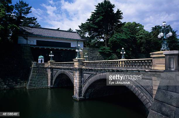 Japan Honshu Tokyo Imperial Palace with old stone bridge in front