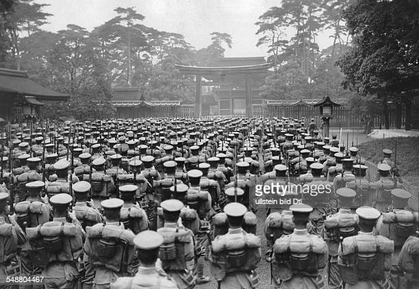 Japan Honshu Tokyo Second SinoJapanese War 19371945 Roll call of an infantry regiment before their deployment to China in front of the Meiji Shrine...