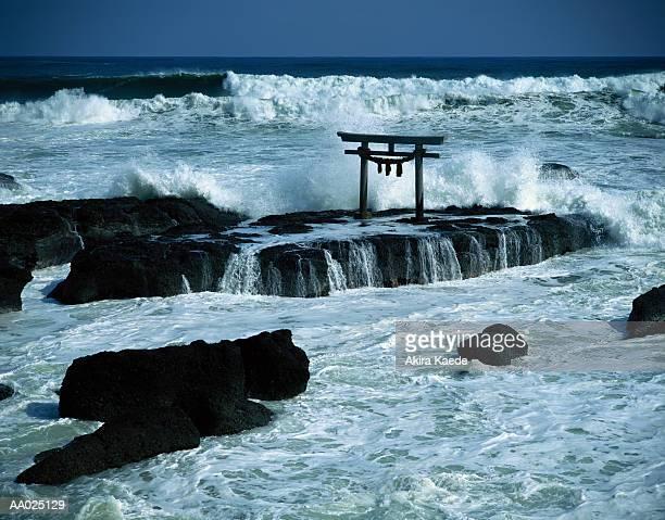 japan, ibaraki prefecture, oarai town, view of torii from beach - 茨城県 ストックフォトと画像