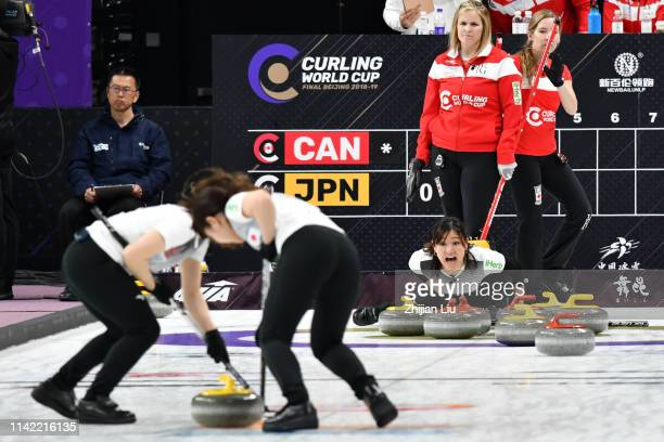 Japan in action during the Women's Curling round robin matches between Canada and Japan on day 1 of the 2018-2019 WCF Curling World Cup Grand Final...