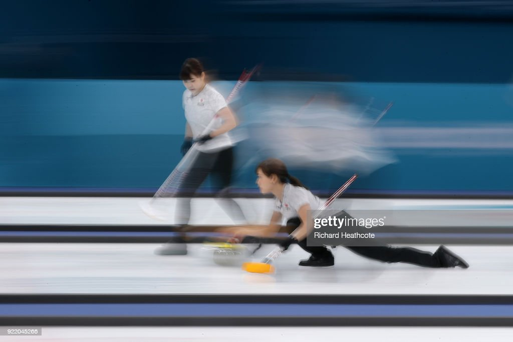 Japan in action during the Women's Curling round robin matches between Switzerland and Japan on day 12 of the Pyeongchang 2018 Winter Olympics at Gangneung Curling Centre on February 21, 2018 in Gangneung, South Korea.