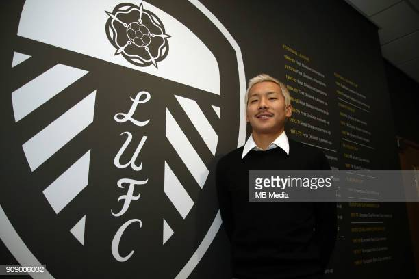 Japan International Football Player Yosuke Ideguchi poses after signing for Leeds United FC on January 8 2018 in LeedsEngland