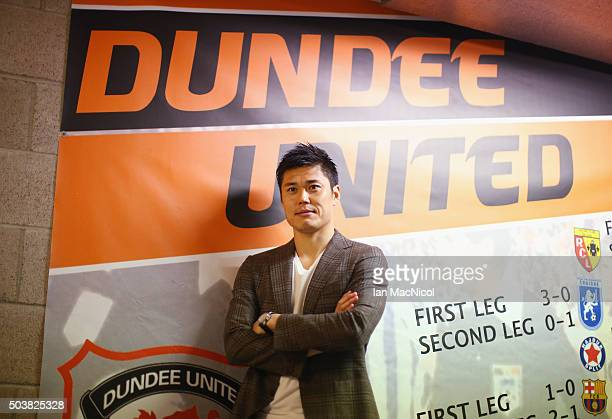 Japan international goalkeeper Eiji Kawashima of Dundee United poses after a press conference at Tannadice Stadium on January 7 2016 in Dundee...