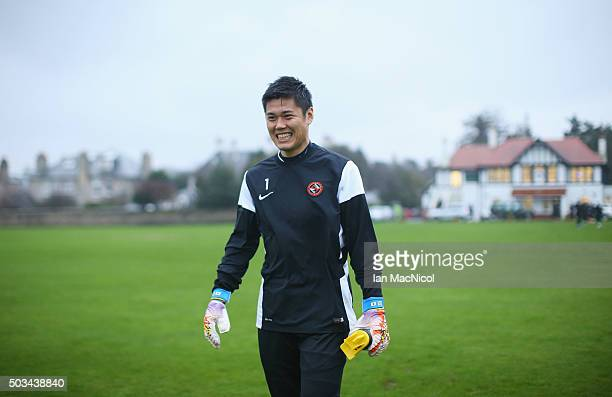 Japan international goalkeeper Eiji Kawashima of Dundee United smiles during a Dundee United training session at St Andrews Sports Centre Training...